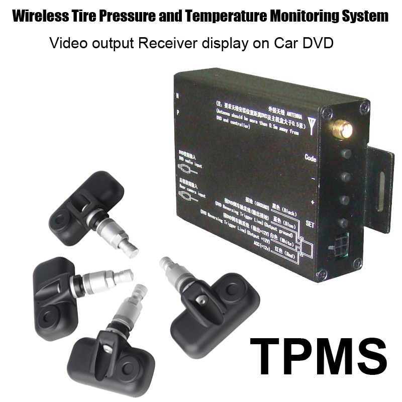 Tire pressure monitor system TPMS with 4pcs internal valve sensor ,compatible with any monitor,GPS,DVD with the AV output