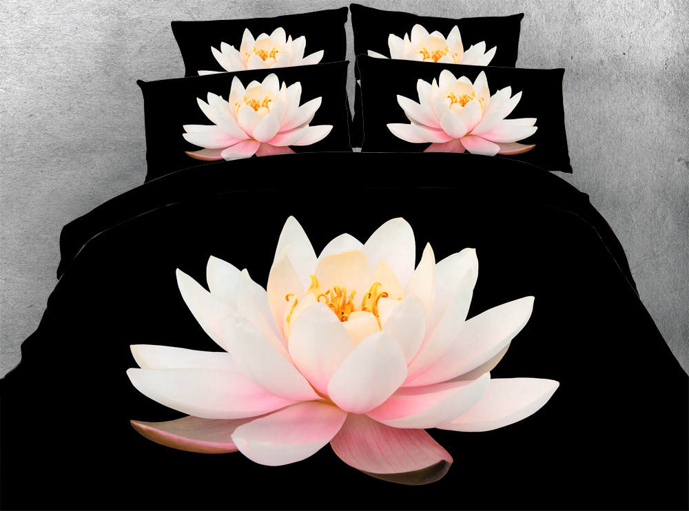 3d printed comforter bedding set quilt/duvet covers bed sheet twin full queen king size girl 500TC woven pink lotus flower black