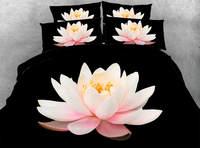3d stampato set biancheria da letto comforter trapunta/duvet copre lenzuolo twin full size regina re ragazza 500TC tessuto rosa fiore di loto nero