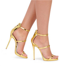 Rose Gold Black Nude Leather Gladiator Sandals Women High Heels Simple Three Straps Cross Foot Sandals Shoes Woman Sandalias