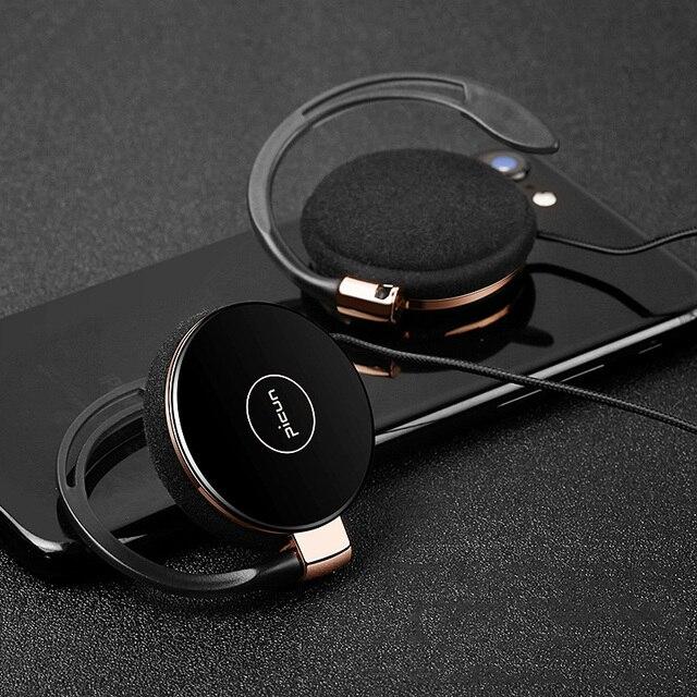 RUKZ auriculares estéreo L1 con gancho para la oreja para teléfono inteligente, dispositivo HiFi para correr, Control de volumen