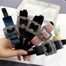 Korea Shiny Sweet velvet Bow Rhineston Hair Accessories For Girls Hair Band Hairbands Flower Hairband Headbands For Women(China)