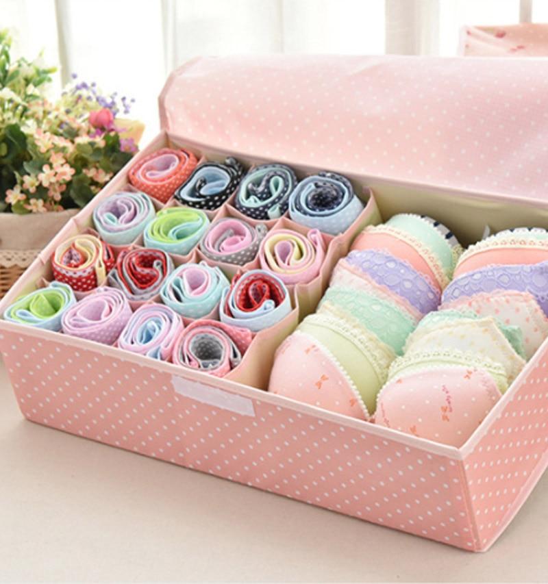 Waterproof Oxford Cloth Underwear Storage Box Home Storage Kit Drawer Closet Organizers Save Space Foldable 13 Grids