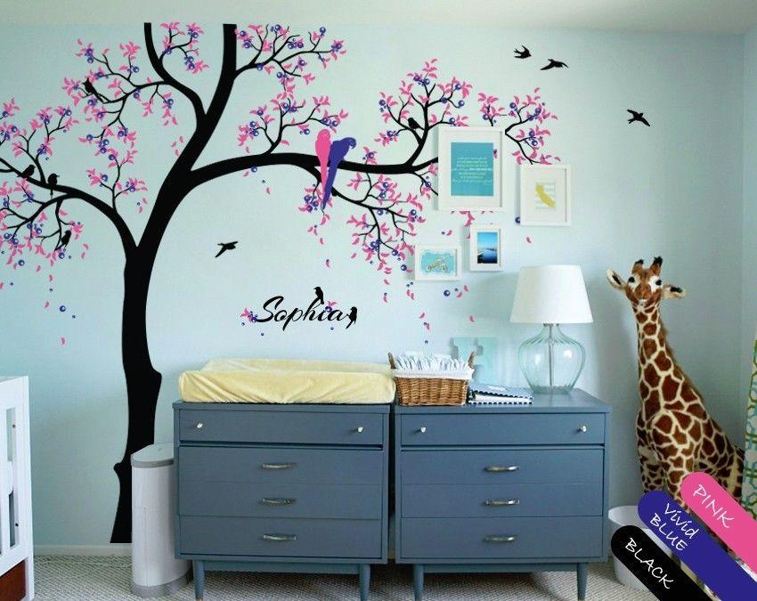 Décalcomanie d'arbre de pépinière, feuilles d'oiseaux perroquets mignons, nom de bébé personnalisé 235 cm X 289 cm