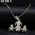 Collar de la familia mamá niña niño mano en mano collar mamá colgantes collares de acero inoxidable collar regalo de la joyería joyeria N2301