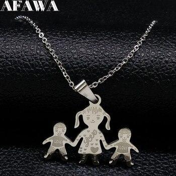 Familie Halskette Mum Mädchen Junge Hand In Hand neckless Mama Anhänger Halsketten Edelstahl Halskette Schmuck Geschenk joyeria N2301