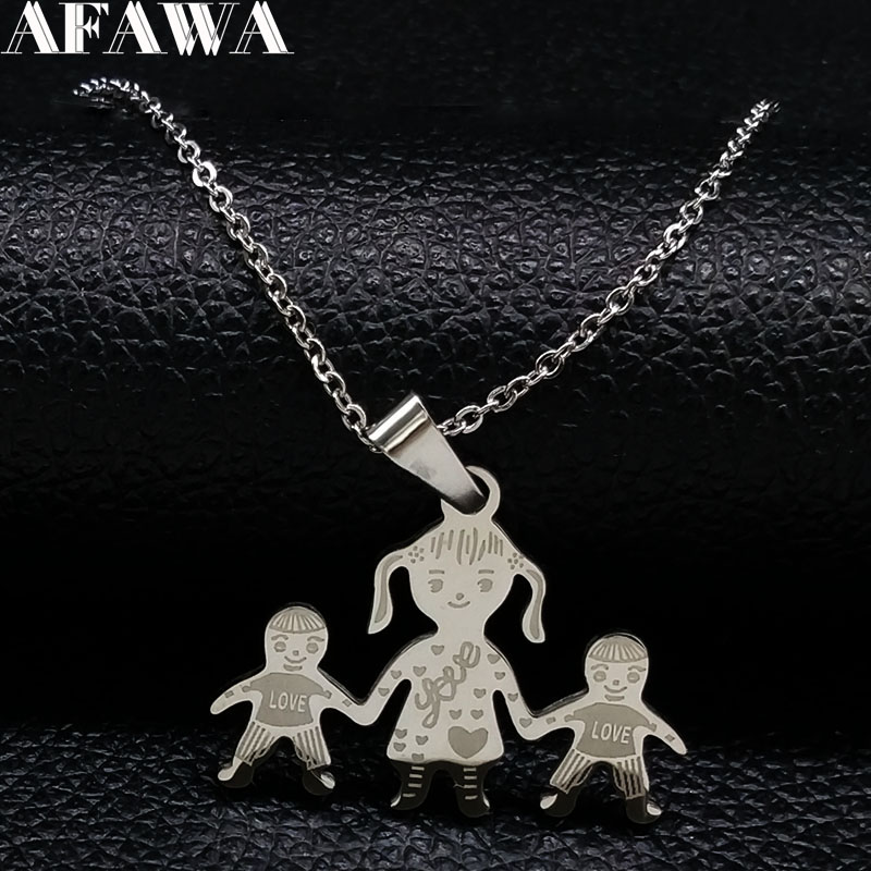 Family Necklace Mum Girl Boy Hand In Hand neckless Mama Pendants Necklaces Stainless Steel Necklace Jewelry Gift joyeria N2301