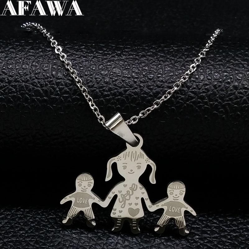 Familie Halskette Mama Mädchen Junge Hand in Hand halslose Mama Anhänger Halsketten Edelstahl Halskette Schmuck Geschenk joyeria N2301
