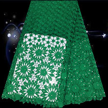 Item No.SQG50,high quality guipure cord lace fabric, popular african cord lace cloth with rhinestones for wedding dress