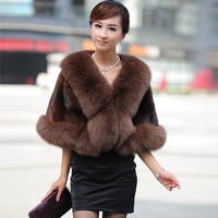 Autumn Winter Women's Genuine Natural Whole hide Mink Fur Shawls Fox Fur Trimming Bride Cape Lady Pashmina VF0178