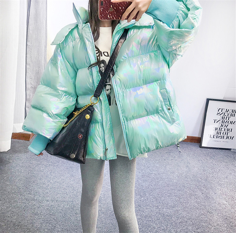 Winter Cotton Coat 2018 Korean Loose Thick Padded Down Bubble Coat Bright Holographic Women Coat Sweet Mint Pink Hooded   Parkas