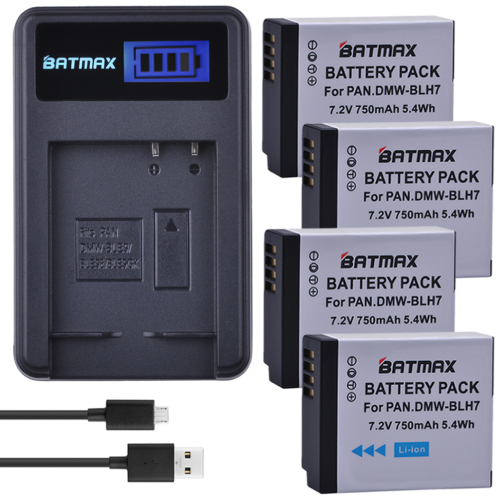 4Pc 750mAh DMW-BLH7 BLH7 DMW-BLH7PP DMW-BLH7E Battery + LCD USB Charger for Panasonic Lumix DMC-GM1 GM1 DMC-GM5 GM5 DMC-GF7 GF7 фотоаппарат со сменной оптикой panasonic dmc gm1 lumix kit 12 32 mm серебристый