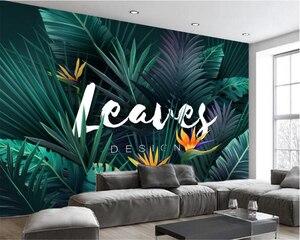 Пользовательские модные шелковые 3d обои 3d обои 3d обои HD абстрактные растения тропический лес банановый лист гостиная фон