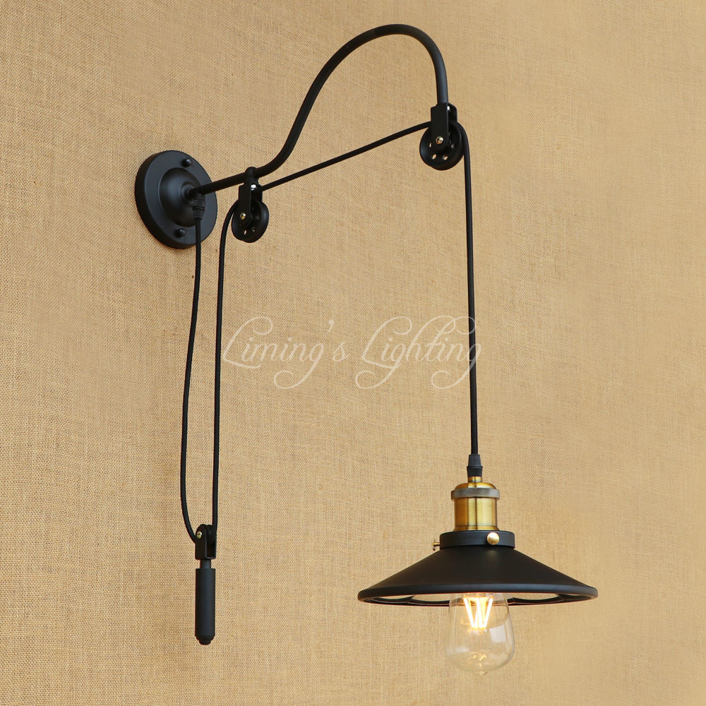 Single Head Retro Vintage Adjustable Pulley Iron Glass Long Wall Lamps E27 LED Wall Ligh ...