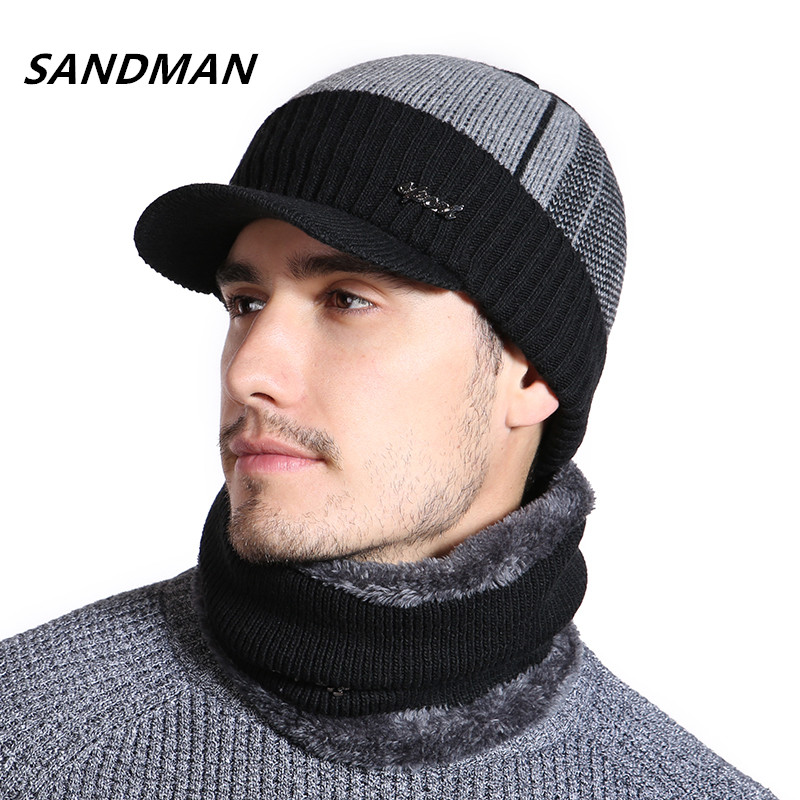 SANDMAN High Quality Cotton Fur Brim Winter Hats Skullies Beanies For Men Women Wool Scarf Caps Mask Gorras Bonnet Knitted Hat