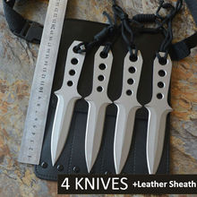 4 Diving Knives /Set USA Fixed 440C Blade Knife With Leather Sheath Survival Tactical Knifes Hunting Camping Knife Outdoor Tools