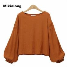 Mikialong 2017 XL-4XL Plus Size Women Shirts Korean Fashion Lantern Sleeve Cotton Linen Blouse Femme Vintage O-neck Blusa Mujer