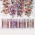 Nova Chegada 10 ml/Box Mulheres Moda Lantejoulas Manicure Dicas de Decoração Da Arte Do Prego Brilho Em Pó Misturado