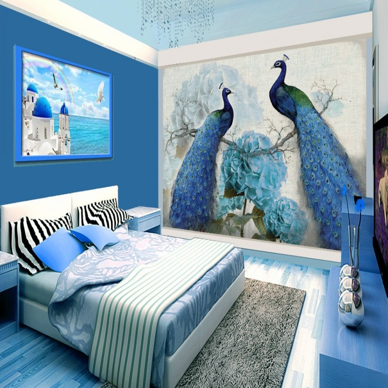 Wallpaper 3d Blue Peacock Retro Floral Oil Painting Rich Background Wall Living Room Bedroom Hall Mural In Wallpapers From Home