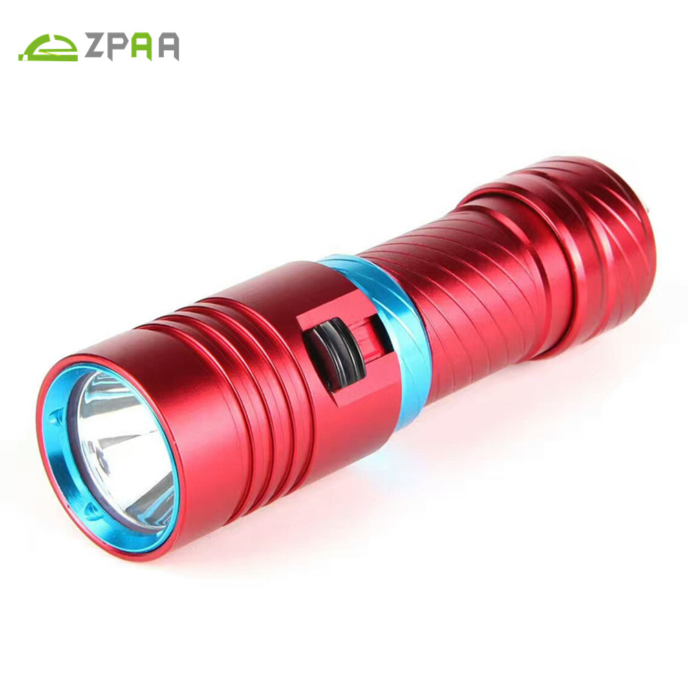 ZPAA Scuba Diving Flashlight xml L2 80M Underwater LED Light Lamp Torch Stepless dimming Power by 18650 26650 Battery powerful underwater flashlight led scuba diving lanterna xml l2 waterproof led torch dive light 18650 26650 rechargeable battery