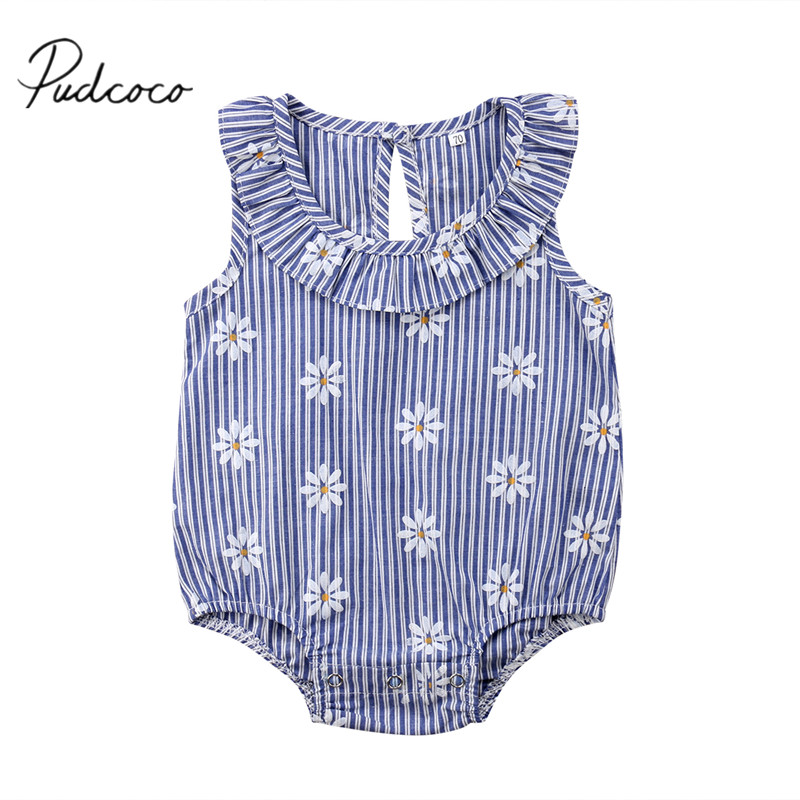 Bodysuits & One-pieces Mother & Kids 2018 Brand New Newborn Infant Baby Girls Daisy Bodysuits 0-24m Sleeveless Peter Pan Collar Striped Floral Blue Jumpsuit Playsuit To Clear Out Annoyance And Quench Thirst