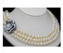 Women Gift Freshwater Jewelry Natural Triple Strand 6-7mm AAA+ white pearl necklace цены онлайн