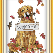 hot dog Welcome cotton DMC Animal cross stitch kits 14ct whi