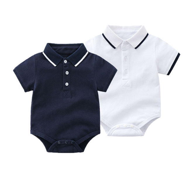 1ff8aacb4813 Newborn Baby Boy Bodysuits Short Sleeve Shirt Clothes with Collar ...