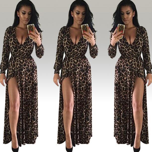 Womens Sexy Deep V Neck Low Cut Slit Leopard Print Casual Prom Party Long  Dress Long Sleeve Elegant Evening Maxi Dress WF501 1c9928edb
