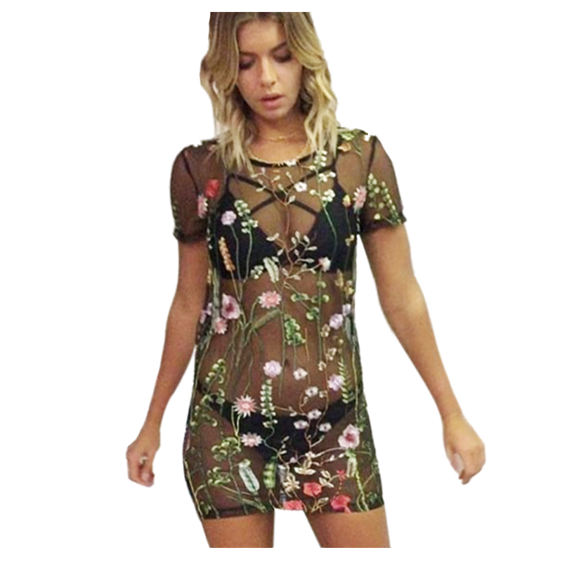 Women's New Sexy Vintage Sweet Colorful Floral Embroidery Perspective Mesh Lace Crochet Short Sleeve Beach Straight Mini Dress