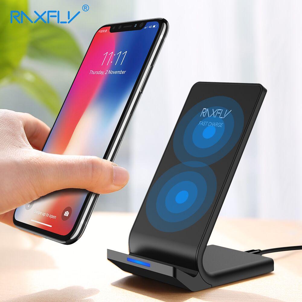 RAXFLY 10 watt Qi Drahtlose Ladegerät Für iPhone X 8 Plus Schnelle Lade Halter Für Samsung S8 Plus S7 S6 rand Hinweis 8 Telefon Schnelle Ladegerät