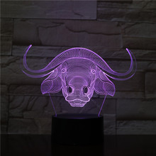 Animal Cattle Table Lamp Bedroom 3d Illusion Lampara Neat Decorative Bull Child Kids Baby Kit Ox Night Light Led Bossy