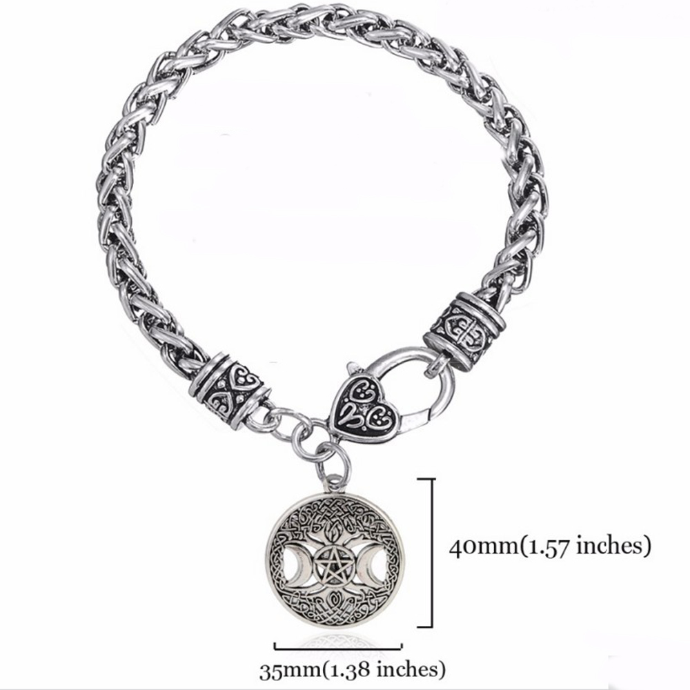 Viking Knot Triple Moon Goddess Pentacle Pendant Unisex's Tree of Life  Charms Witchcraft Jewelry Making Bracelet-in Pendants from Jewelry &