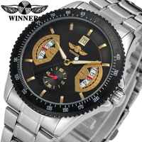 WINNER Concise Sport Men Automatic Mechanical Watch Stainless Steel Strap Calendar Date Sub Dial Design Male