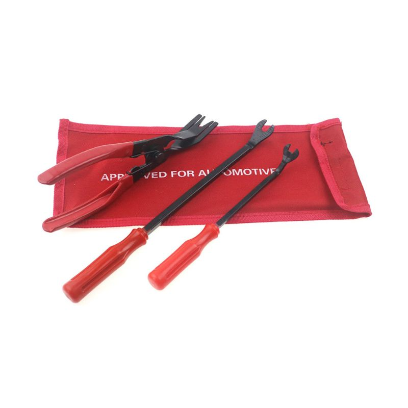 3pcs/Set Auto Car Door Panel Remover Clip Trim Auto Fastener Pliers Puller Tool Retaining Clip Remover Pry Bar Tool + Nylon Bag