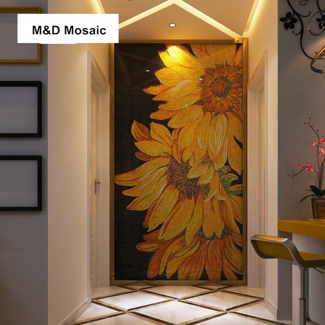 Luxury Customized Hand Cut Shiny Glimmer Ice Jade Gl Sunflower Art Mural Mosaic Wall Decoration