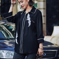 Cheerart Autumn 2017 Vintage Chiffon Crane Embroidery Blouse Women Black Loose Shirt Ladies Tops Femme Fall