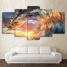 Frame HD Printed Modern Canvas Living Room Pictures 5 Pieces Sunset Ocean Waves Painting Wall Art Modular Poster Home Decor