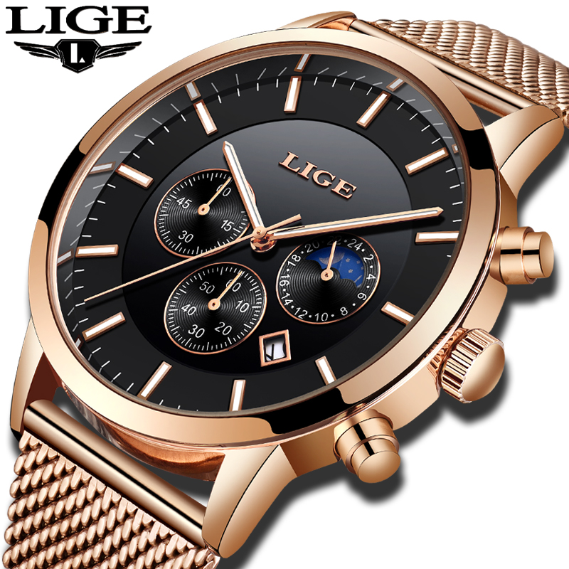 LIGE Mens Watches Top Brand Luxury New Men Stainless Steel Mesh Belt Quartz Watch Mens Casual Fashion Luminous Waterproof Watch цена и фото