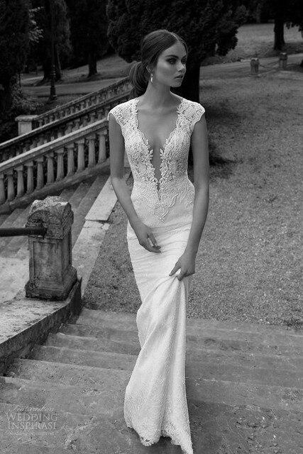 New High Fashion Women Dress Real Photo Mermaid Wedding Lace V Neck Sexy Dresses