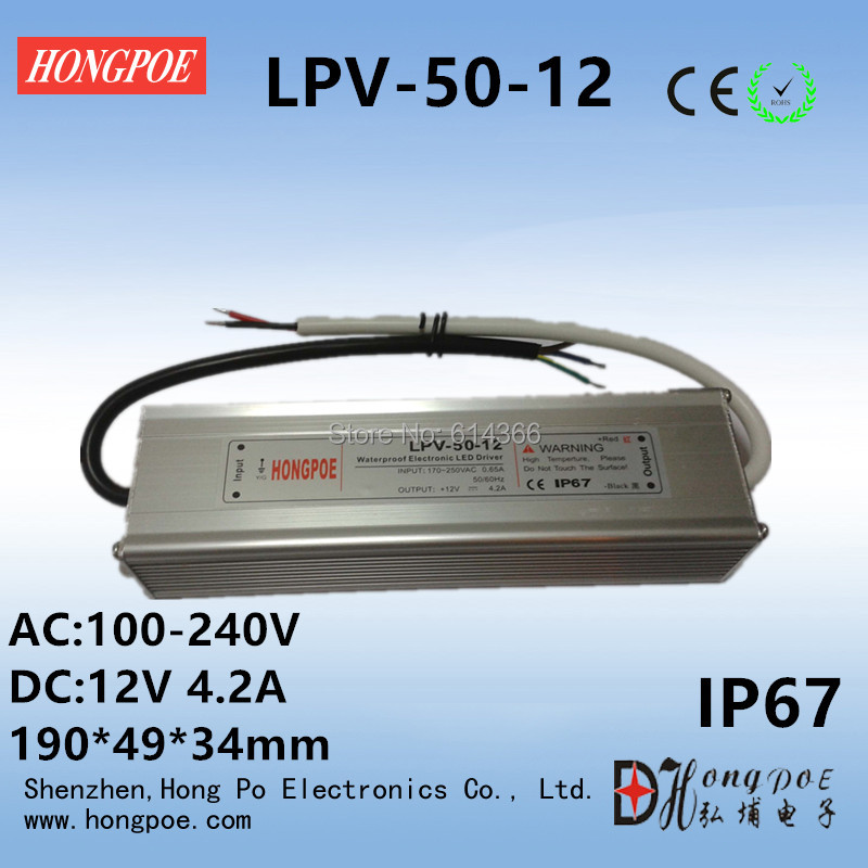 1PCS IP67 100-240VAC 50W 12V 24V 36V power supply 12V 4.2A 24V 2a 36V 1.4A certification LED Driver 12V 24V 36V 50W габаритный фонарь nat 12v 24v