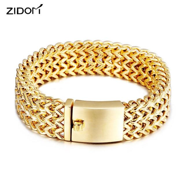Stainless Steel Gold Color Men Hiphop Bracelets Trendy 1 8cm Width 21cm Long Franco Link Chain