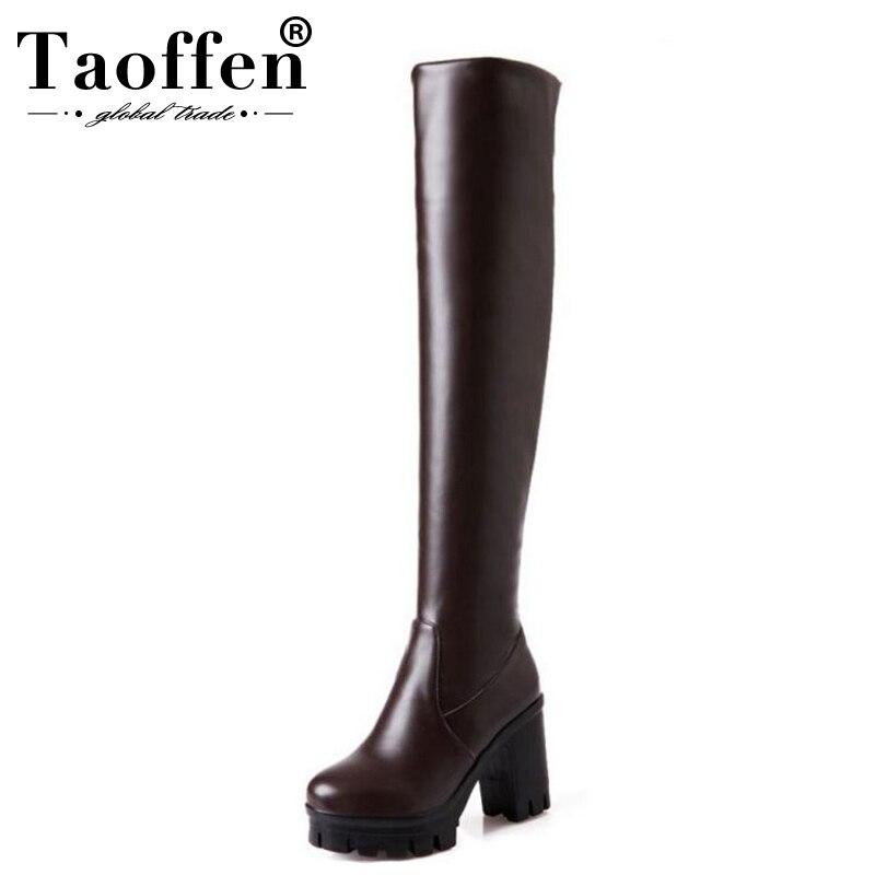 c95bf6fc50 Comprar 33 43 TAOFFEN Tamanho Botas de Inverno Mulheres Plataforma de Moda  Grossas de Salto Alto Sapatos Quentes das Mulheres Concise Pele Sobre botas  até o ...