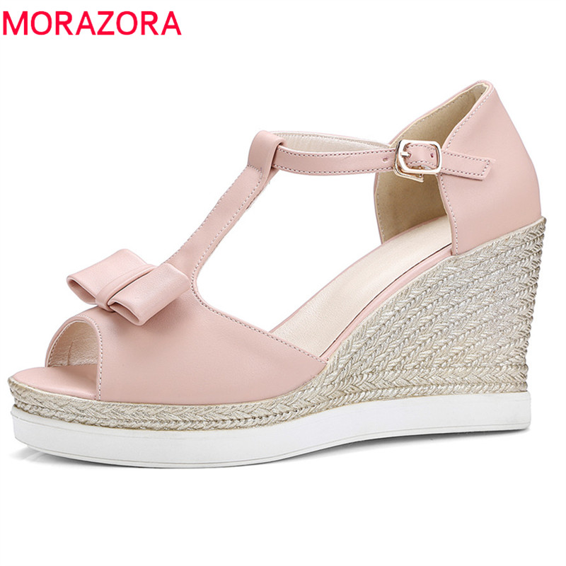 MORAZORA 2018 new arrive women sandals fashion comfortable wedges shoes sweet bowknot summer shoes peep toe shoes woman morazora 2018 new women sandals summer sweet bowknot comfortable buckle spike high heels platform shoes peep toe shoes woman