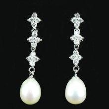 Genuino pendientes largos de perlas, rhinestone cristalino de la flor de perlas cuelgan aretes, 8 mm blanco perla pendiente de gota plateado platino de la joyería
