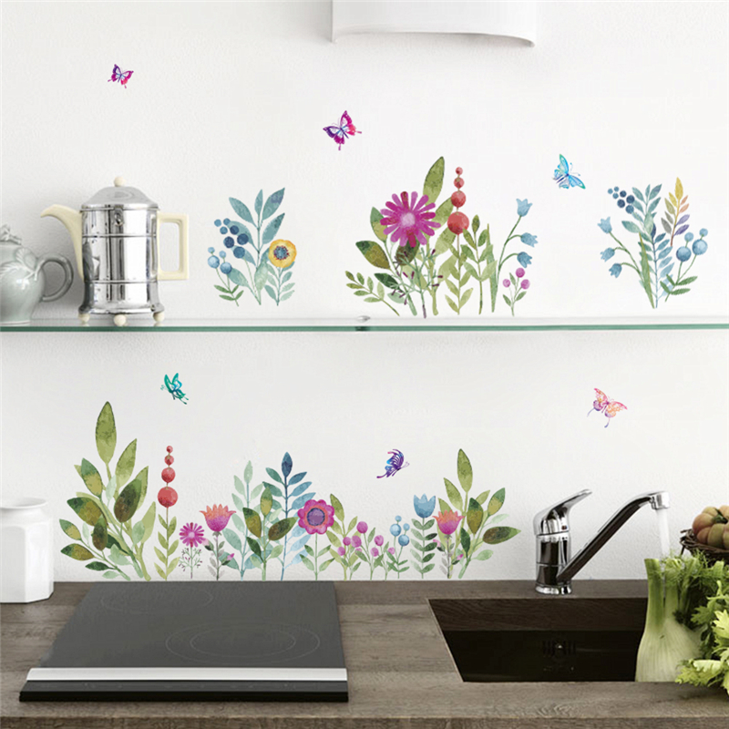 Pastoral Flowers Butterfly Wall Stickers Skirting Kitchen Wall Decal Bedroom Decoration Home Decor Decal Mural