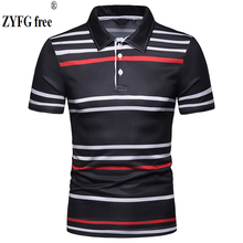 Fashion casual style men's POLO shirts turn-down collar short-sleeved striped POLO shirt straight Slim fit summer tops men tops summer style polo shirt men s causal fashion brand striped color slim short sleeved polo shirt dress men eu us size m xxl
