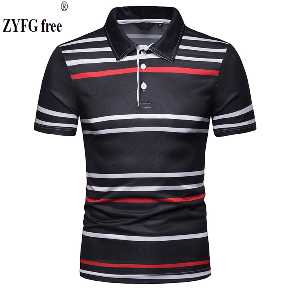 Fashion casual style men's   POLO   shirts turn-down collar short-sleeved striped   POLO   shirt straight Slim fit summer tops men