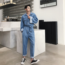 Vintage Mens Boys Denim Jeans Overalls Safari Style Casual Trousers Long Sleeve With Belt Blue