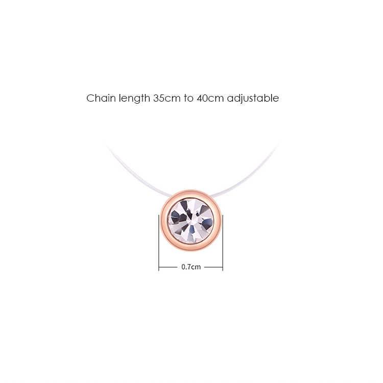 BeBella לא אלרגי בלתי נראה שקוף דק שרשרת קריסטל שרשרת עם קריסטלים צ 'כי לנשים ילדה יום הולדת מתנה 2019